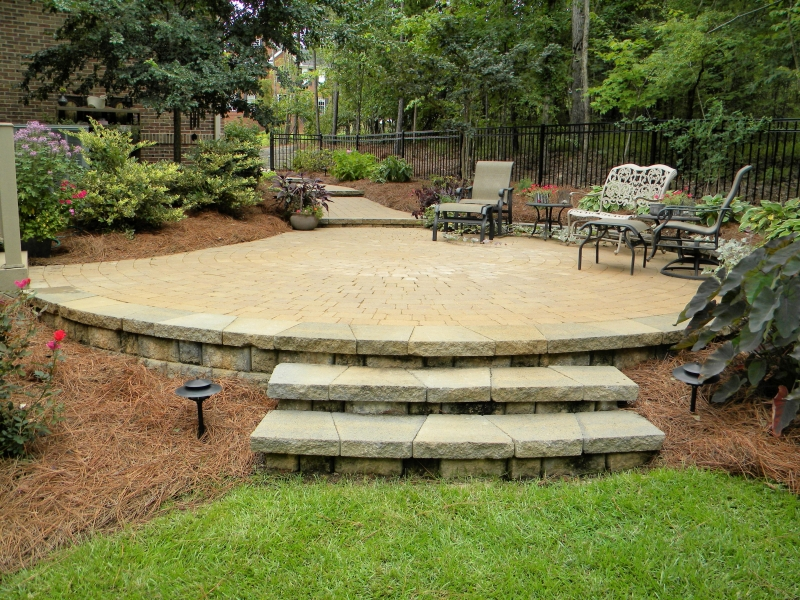 Raised Paver Patio. Raised Paver Patio With Steps